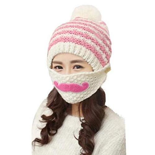 Krystle Kids Soft & Style Knitted Woolen Cap with Woolen Mask,Warm Winter Woolen Cap for Girl's fit for 8 to 15 Year Kids (White)