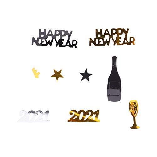 PRETYZOOM 2021 Frohes Neues Jahr Konfetti Glitzer Weinglas Streusel Streuen Tisch Herzstück für Silvester Party Wrapping Dekor Bevorzugen Lieferungen
