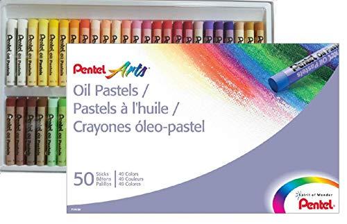Giz Pastel Oleoso Pentel Para Desenhar Com 50 Cores, Pentel, Phn-50, 50 Cores