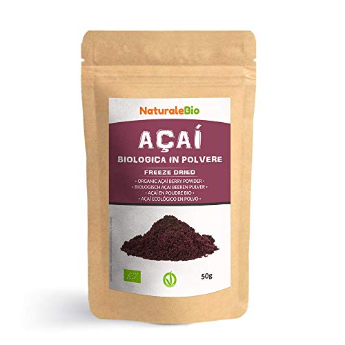 Açaí Beeren Pulver Bio [ Gefriergetrocknet ] 50g. Pure Organic Acai Berry Powder ( Freeze-Dried ). 100% aus Brasilien, Getrocknet, Rohkost und Extrakt aus Pulp der Acai-Beeren Frucht. NaturaleBio