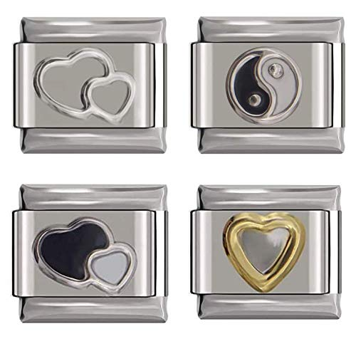 9mm Italian Style Charms Bundle - Double Heart Silver - Taichi YinYang Charm - Black and White Double Heart Charm - Gold Outlined Heart Charm - UK stock