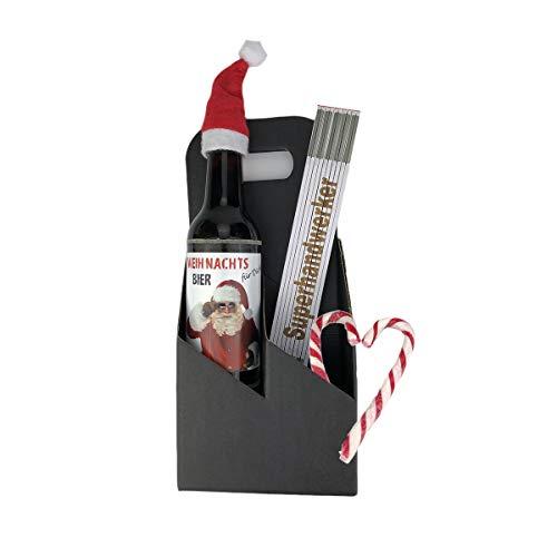 3-teiliges Geschenkset/Zollstock mit Gravur zum Auswählen/Weihnachts-Bier/Männergeschenk/Handwerker/Weihnachten, Zollstöcke:-Falko