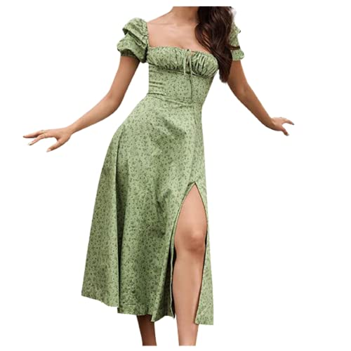 ASDVB Damenmode Lässig Blumenverband Trägerlos Druck Puffärmel Quadratischer Kragen Geteiltes Kleid mit hoher Taille