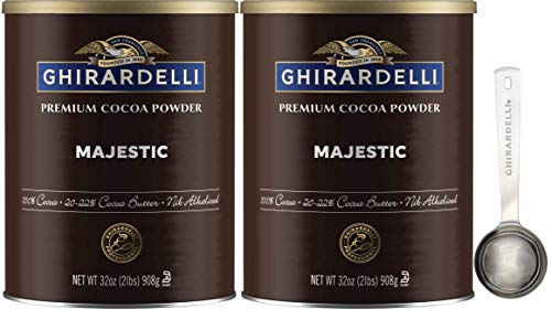 Ghirardelli Majestic Premium Cocoa Powder, 32 Ounce Can (Pack of 2) with Ghirardelli Stamped Barista Spoon