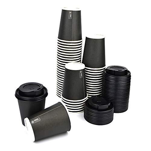 DUE ESSE S.N.C. DI SABATINI ALDO & C. PZ 100 Bicchiere Nero 9OZ (266 ML) in Carta Alto 9,5 X Diametro 7,5 + COPERCHI Neri Ideale per Bevande Calde Come Caffe, Cappuccino E TISANA