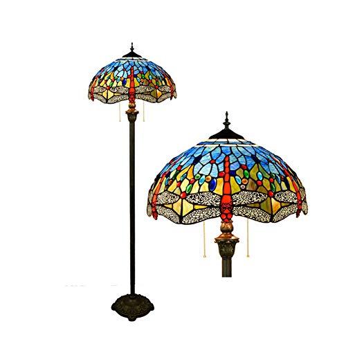 XJK Stehlampe, Wohnzimmer LED Stehleuchte Wirtschaftliche Stehlampe Standlampe Stehlampe Torchiere Light Europäische mediterrane kreative Retro Tiffany Glasmalerei Blaue Libelle Stehlampe