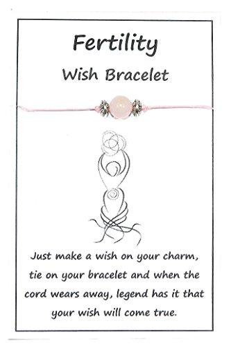 Jeannieparnell W011 Carded Wish String Bracelet or Anklet - Fertility - Rose Quartz Gemstone Bead Handmade Design