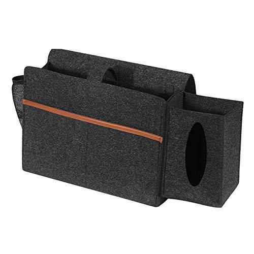 Mesita de Noche/Organizador de Almacenamiento de mesita de Noche, Soporte de Mando a Distancia Organizador de sillín sofá Caddy Bolso de reposabrazos - Gris Oscuro