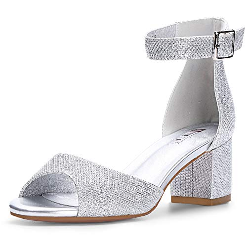 IDIFU Women's Candie Low Block Heels Sandals Peep Toe Chunky Ankle Strap Wedding Dress Shoes (8 M US, Silver Glitter)