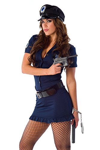 Women Velvet Kitten Blue / Black Sexy Police Officer Costume in Small