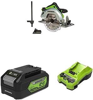 Greenworks Tools Sega Circolare a Batteria GD24CS Li-Ion 24 V max Profondità di Taglio 64 mm 4500 RPM a Vuoto Blocco del M...
