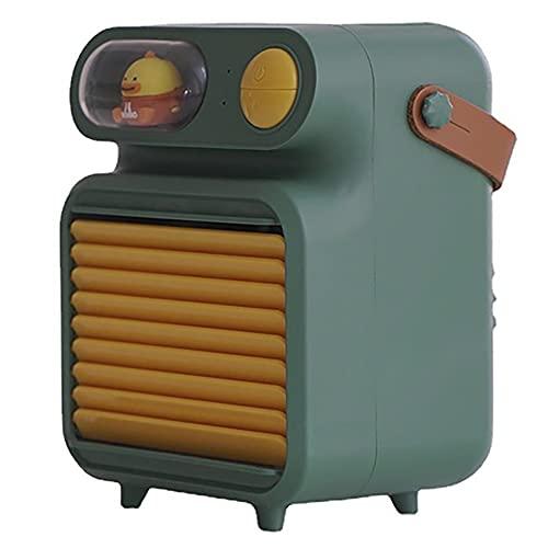 BGJK Ventilador Enfriamiento Agua con Humidificación Carga USB, Mini Ventilador Aire Acondicionado Escritorio, Enfriador Aire Pequeño, Humidificador Portátil con Ventilador Pulverización, Verde
