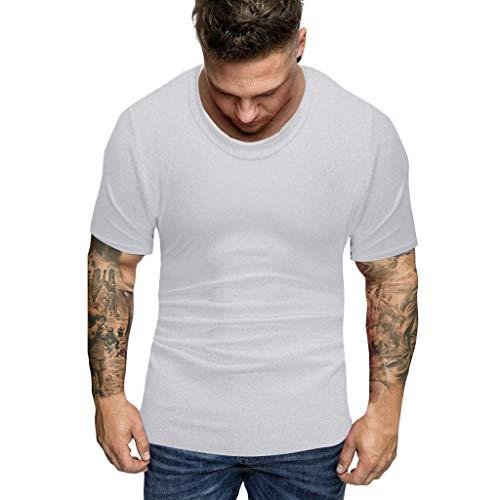 ZZBO Tshirt Herren T Shirt Herren Sommer Solide Tee Kurzarm Rundhalsausschnitt Slim Fit T-Shirt Herren Hemd Herren Hemden Herren Top Oberteile Freizeit Bequem S-XXL(Grau,Gelb.Schwarz,Weiß)