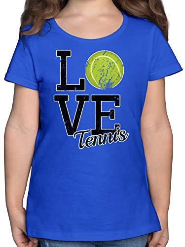 Sport Kind - Love Tennis - 104 (3/4 Jahre) - Royalblau - t Shirt Love Tennis - F131K - Mädchen Kinder T-Shirt