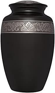 Black Gold Funeral Urn by Liliane Memorials - Cremation Urn for Human Ashes - Hand Made in Brass -Suitable for Cemetery Burial or Niche- Large Size fits remains of Adults up to 200 lbs- Avediana Model