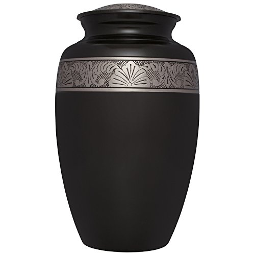 Black Funeral Cremation Urn - Cremation Urn for Human Ashes - Hand Made in Brass -Suitable for Cemetery Burial or Niche- Large Size fits Remains of Adults up to 200 lbs- Avediana Model