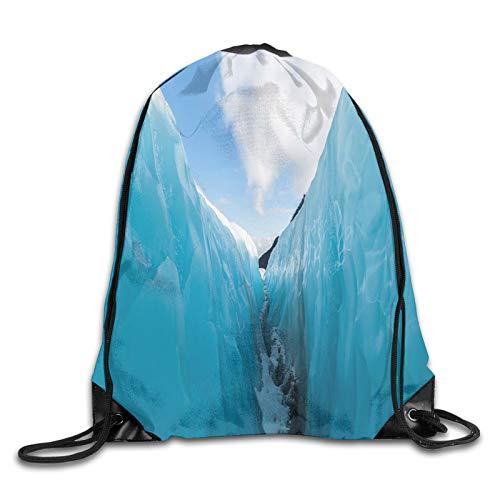 Drawstring Gym Bag Backpack,Frozen Ice Mountains In North South Polar Cubes Winter Theme Art Print,Rucksack for School Sports Travel Women Children Birthday Present