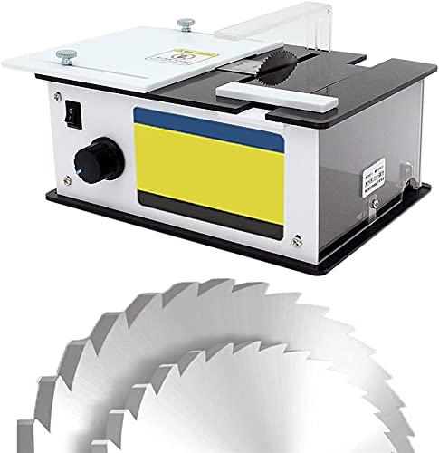HTDHS Mini Sierra de Mesa multifunción, Sierras Circulares eléctricas 96W con Hoja de Sierra, Velocidad Variable 9000 RPM, Profundidad de Corte de 10 mm / 0.39'para el Corte de carpintería