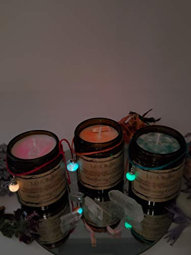 LOA Buffet Signature Glo Candle Pink, Law Of Attraction, Hand Poured Soy Candle, Chakra Balancing Candle, Glow In Dark Charm Candle