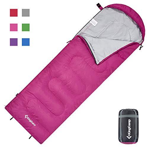 KingCamp Oasis Deckenschlafsäcke mit Kopfteil für Erwachsenen Leichtgewicht 3 Jahreszeiten, Rosa, 220 × 75 cm