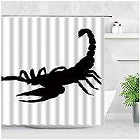 HANTAODG 防水バスルームシャワーカーテンセットブラックスコーピオンホワイト背景クリエイティブな家の装飾ポリエステル生地シックなバスカーテン-180X200Cm