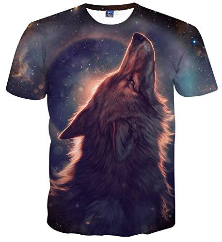 Sykooria T Shirts Herren Kurzarm 3D Digital Druck Wölfe Animal Lustig Männer Damen T-Shirts