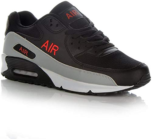 Photo of Mens Air Shock Absorbing Running Trainers Jogging Gym Fitness Trainer New Shoes Sizes 7-11 UK (9 UK, Black/Red)