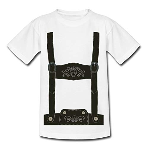 Spreadshirt Falsche Lederhose Tracht Scherz Kinder T-Shirt, 110-116, Weiß