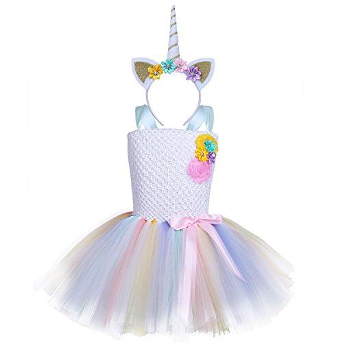 iEFiEL Einhorn Prinzessin Kostüm für Kinder - komplettes Einhorn Kostüm für Mädchen Kleid mit Einhorn Stirnband Zu Geburtstag Cosplay Kostüm Weiß + Gold Haarreif 122-128