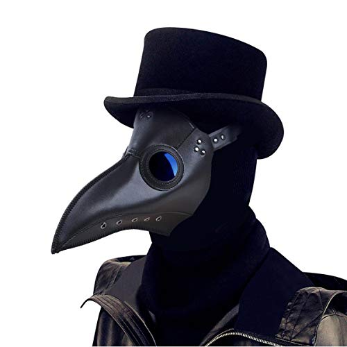 ThinkTop Plague Doctor Mask Long Nose Bird Beak Mask, PU Leather Rivet Steampunk Halloween Cosplay Costume Props for Party