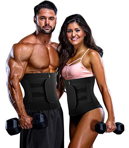 COMFREE Taille Trainer Damen Verstellbar Schwitzgürtel zur Fettverbrennung Sauna Effekt Fitnessgürtel Bauchweggürtel mit Tasche Schwarz 3XL