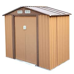 """✅【MODERN OUTDOOR SHED】: Attractive, vertical siding combines with a Brown coating, this outdoor steel shed (79.9""""(L) x 46.1""""(W) x 72.8""""(H)) gives you a handsome, stylish and durable storage solution, meeting all of your outdoor organization needs. Th..."""