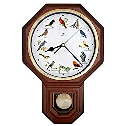 JUSTIME Unique 12 Northern Cardinal Bird's Song Schoolhouse Pendulum Wall Clock Chimes Every Hour Melody Sweep Silent Movement (TCBD-PP-RB-DW Wood Grain)