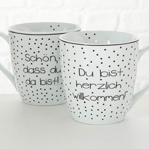 MAIKAI 2er Set Jumbo Tassen Mit Botschaft 480 ml Schwarz Weiß Spruch Kaffeebecher Jumbobecher Kaffeetasse Modern Becher Groß Geschenk