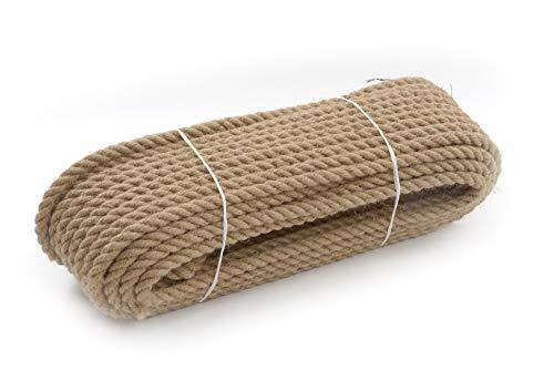 Juteseil tauwerk Jute Jutegedrehtes Seil Natürliche Segel Hersteller Dekorativ Langlebig 3-schäftig geschlagen braun, 14mm, 15M