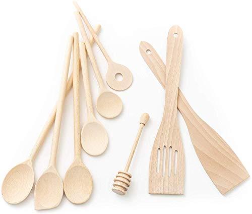 Tuuli Kitchen 9 Piece Wooden Kitchen Utensils Set (6x Cooking Spoon 7-13.8 inches, 1x Honey Dipper, 2x Spatula)