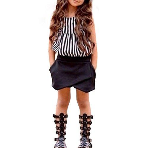 Mbby Bambina Maglietta Senza Manica A Righe + Pantaloncini Tinta Unita Tuta Bimba Estivi 2-7 Anni Completo Bambini 2 Pezzi Set Tute Cotone Ragazza Bambino Femmina Neonata