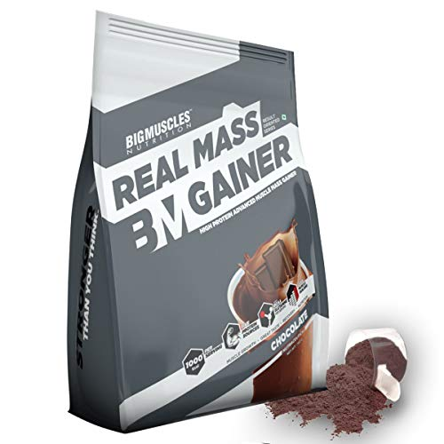 Bigmuscles Nutrition Real Mass Gainer [Chocolate], Lean Whey Protein Muscle Mass Gainer, Complex Carbohydrates, 1000 Calories Per Serving | 10 Servings