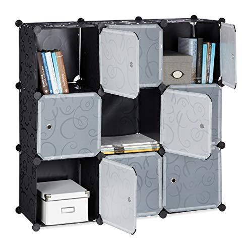 Relaxdays Regalsystem mit Türen, Raumteiler Kunststoff, Standregal 9 Fächer, Badregal, HBT: ca. 95 x 95 x 32 cm, schwarz