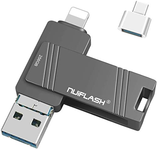 256 GB USB-Flash-Laufwerk für iPhone Photo Stick 256 GB iPhone-USB-Stick USB 3.0 Memory Stick für iPhone-Flash-Laufwerk mit 3 Anschlüssen für iPhone / iPad / iPod / Android / Computer
