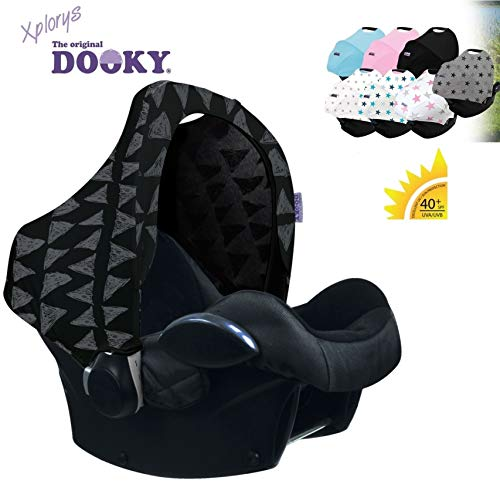 Original DOOKY HOODY ** Style UV+ ** Capote/Protège pare-soleil - universel pour siège auto Maxi-Cosi (Citi, Pebble, CabrioFix, Cabrio.), Römer, Cybex et autre (Black Tribal)