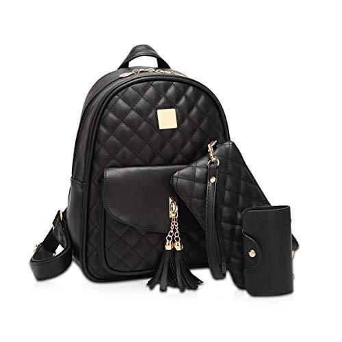 KaiKai Frauen Rucksack Leder Art und Weise 3pcs Purse Mädchen Rucksack Plaid Neue Frauen Daypack Schulranzen Balck (Color : Black)