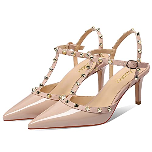 MIRAAZZURRA Women Heeled Sandals Rivet Studded T-Strap Wedding Shoes Stiletto High Heels Pointed Toe Slip On Bridal Pumps for Women 6.5cm US Size 6.5 Nude