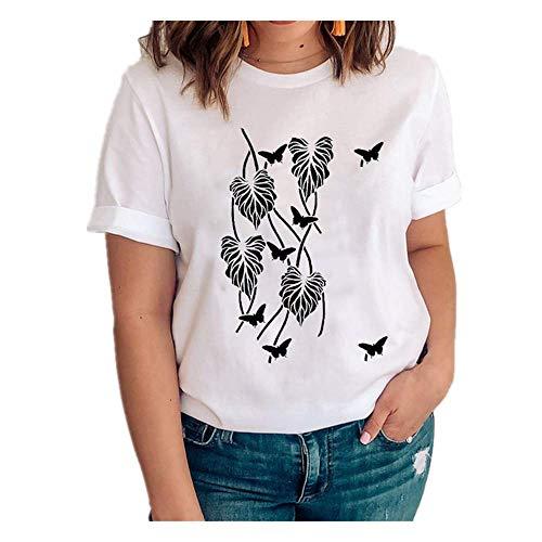 Mujeres Gráfico Flor Manga Corta Estilo Chica Linda Impresión Ropa Señora Camisetas Impresión Tops Ropa Mujer Camiseta