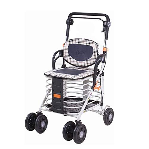 SOAR Rollator Walker Folding Rollator with 4 Wheel Shopping Trolley Walker Adjustable Height Push Pull Shopping Cart Bag Luggage Grocery Trolley
