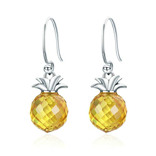 Pineapple Shaped Inlaid Zircon 925 Silver Drop Earrings Women Charming Jewelry Great Gift for Griend