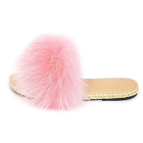 Geflochtene Sohle Pantoffeln mit rosa Fuchsfell Fell Latschen Pelz Sandalen Schlappen Fuchs Echtfell Echtpelz Slipper Slides Schuhe Pantoletten (40 EU)