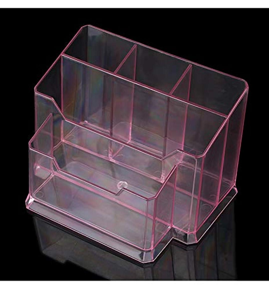 くスイング香りピンクアクリル5コンパートメントペンと鉛筆ホルダーカップ名刺ホルダーボックス事務用品デスクトップオーガナイザー収納キャディ