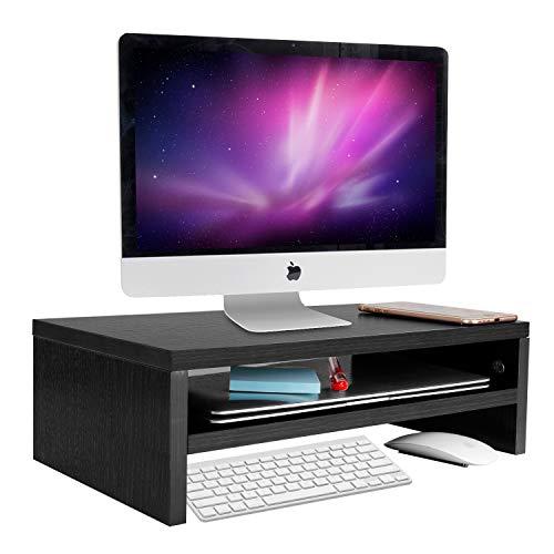 Hölzerner Monitorständer Riser, Astoryou 16,5-Zoll-2-Tier-Schreibtisch-TV-Regal Computer-Monitorständer, vielseitiger Aufbewahrungsregal- und Bildschirmhalter für das Home-Office-Geschäft, Schwarz