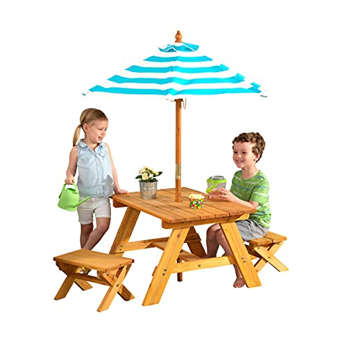 KidKraft Outdoor Wooden Table & Bench Set with Striped Umbrella, Children's Backyard Furniture,...